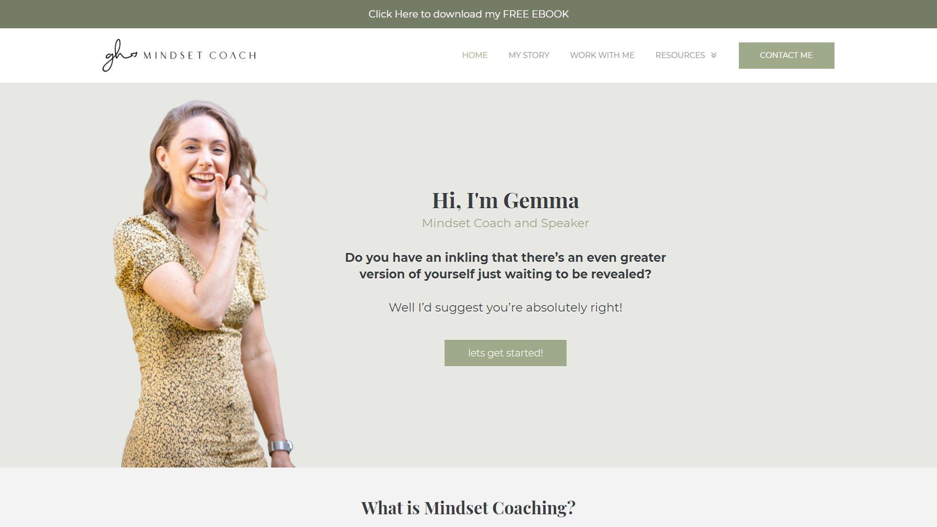 desktop screenshot of Gemma Hanley Mindset Coach