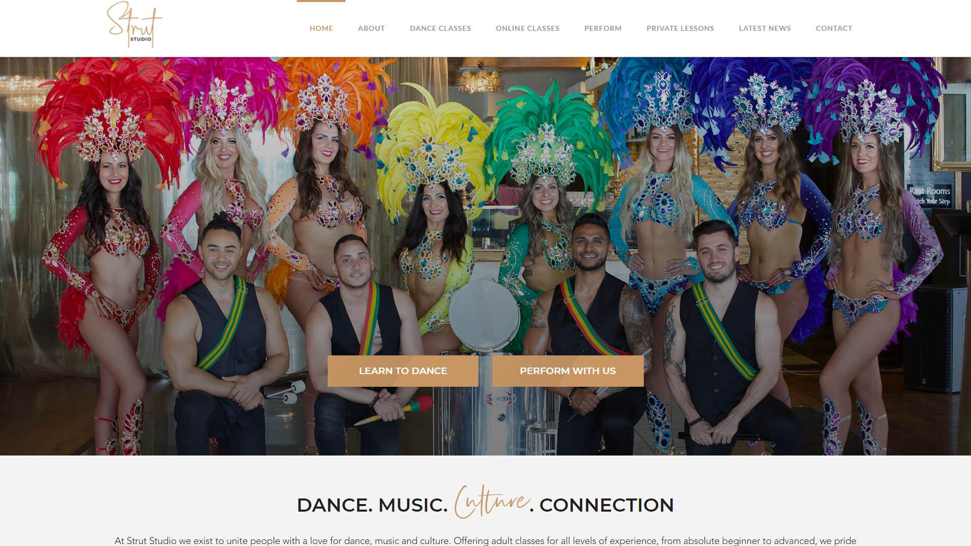 desktop screenshot of Strut Entertainment Group