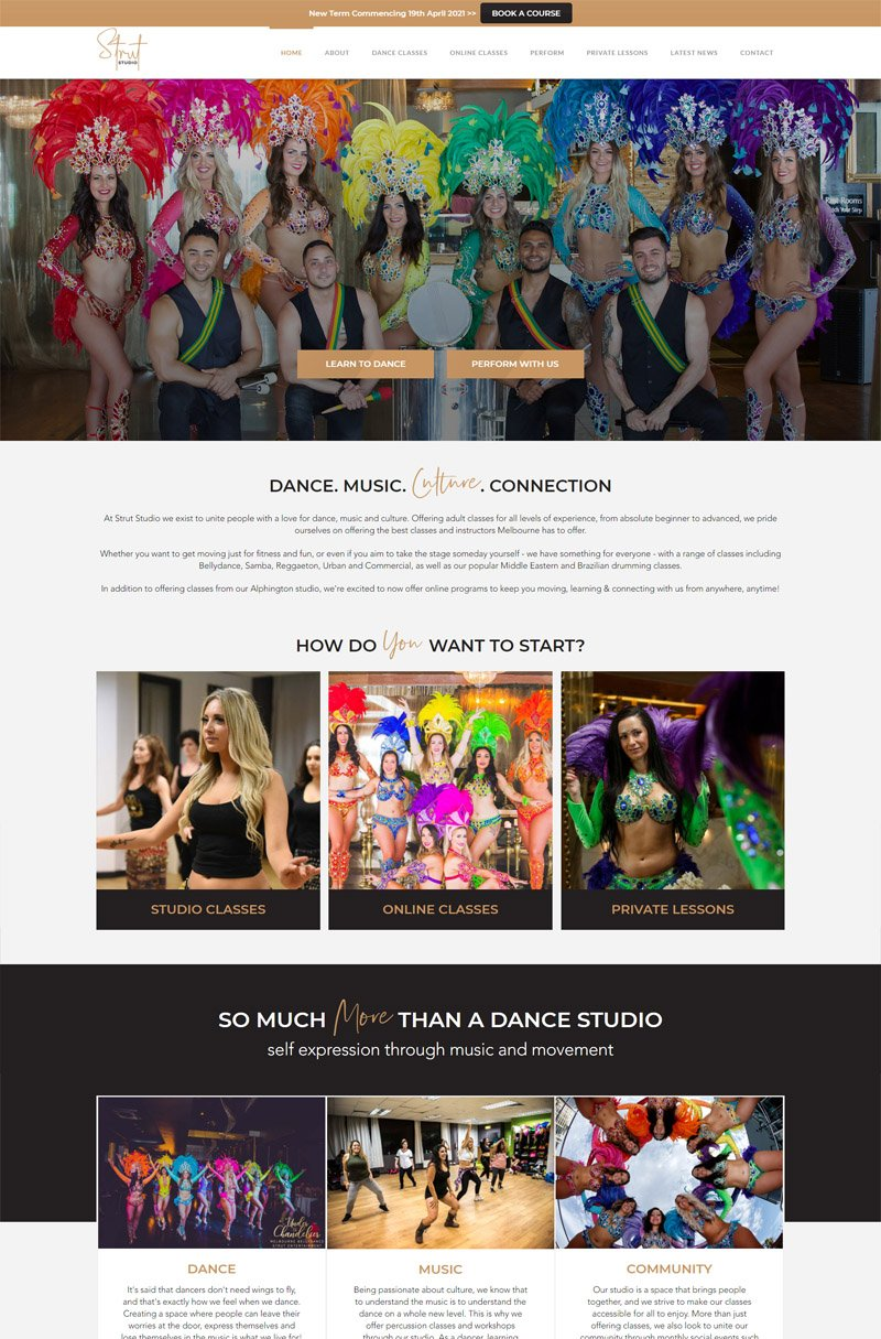 second layout for Strut Entertainment Group