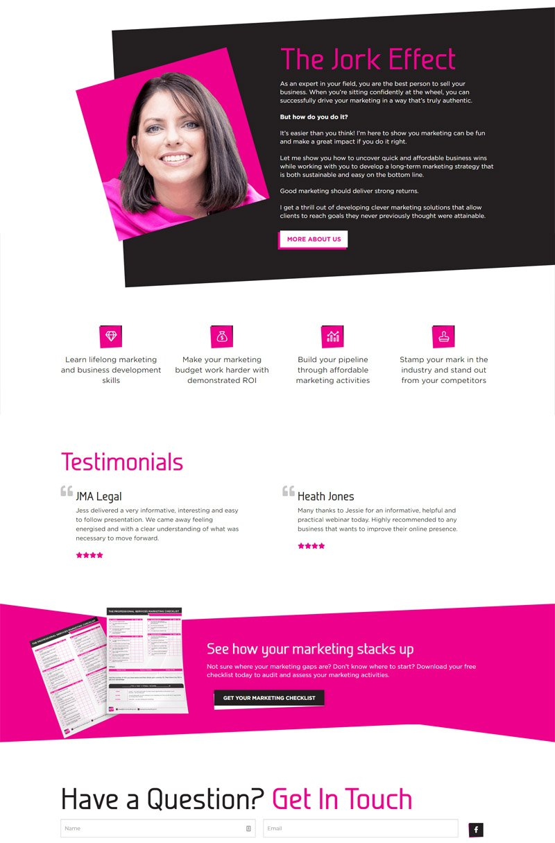 first layout for Jork Consulting