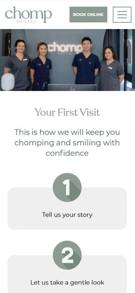 mobile screenshot of Chomp Dental